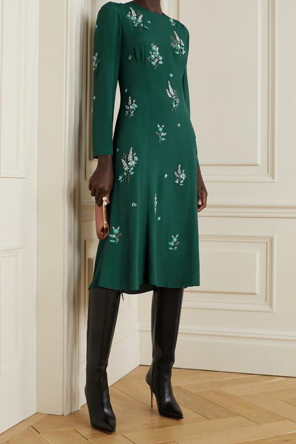 Thumbnail for your product : Erdem Velvet-trimmed Embellished Cutout Crepe Midi Dress - Green