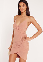 Missguided Chain Strap Ruched Bodycon Dress Pink