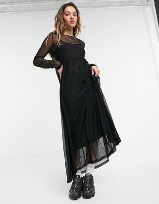 Noisy May mesh maxi dress in black