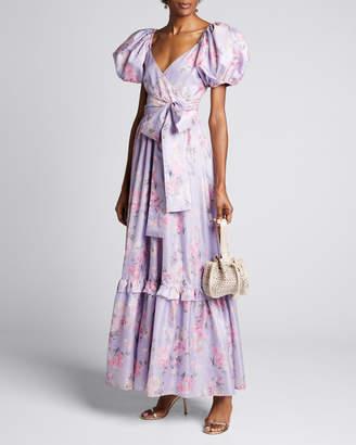 LoveShackFancy Ida Floral Puff-Sleeve Long Dress
