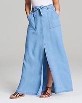 Soft Lyocel Denim Maxi Skirt with Split Front and Tie Belt Length 37in