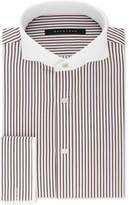 Sean John Men's Classic/Regular Fit Brown and White Stripe French Cuff Dress Shirt