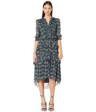 ML Monique Lhuillier V-Neck Ruffled Layered Dress (Jet Multi) Women's Dress