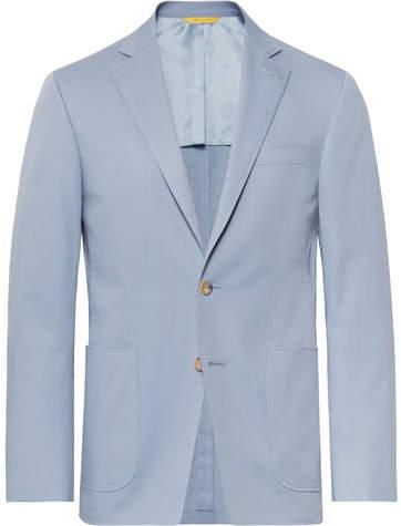 Canali Light-Blue Kei Slim-Fit Stretch-Cotton Suit Jacket