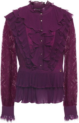Just Cavalli Ruffled Lace And Georgette Shirt