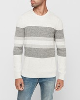 Express Striped Marled Crew Neck Sweater
