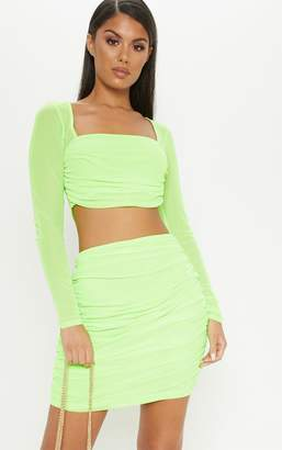 PrettyLittleThing Neon Green Mesh Square Neck Crop Top