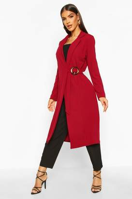 boohoo O Ring Detail Duster Coat