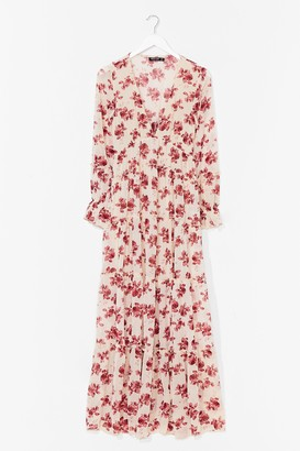 Nasty Gal Womens Drop It Meadow Floral Maxi Dress - Nude