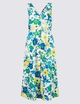Marks and Spencer Pure Cotton Floral Print A-Line Midi Dress