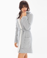 Soma Intimates Cozy Lounge Faux Sherpa Hoody Short Robe Heather Grey