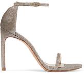 Stuart Weitzman Nudistsong Metallic Mesh Sandals - Platinum