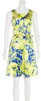 Oscar de la Renta Abstract Print Belted Dress w/ Tags