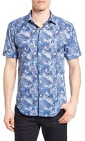 Bugatchi Men's Shaped Fit Fern Print Sport Shirt