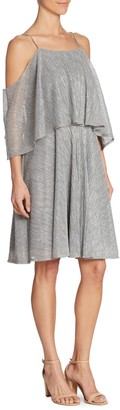 Halston Textured Metallic Cold-Shoulder Dress