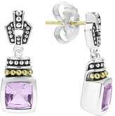 Lagos 18K Gold and Sterling Silver Caviar Color Drop Earrings with Rose de France Amethyst