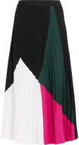 Proenza Schouler Color-block Pleated Knitted Midi Skirt - Black