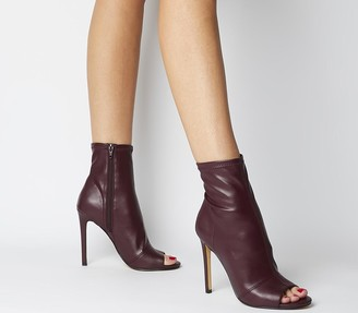 Office Aware Dressy Peep Toe Boots Burgundy Stretch