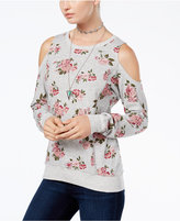 Ultra Flirt Juniors' Floral-Print Cold-Shoulder Sweatshirt