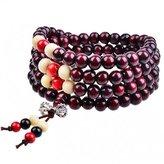 SG 108 Wood Beads Bracelet Tibetan Buddhist Link Wrist Prayer Mala Elastic Necklace