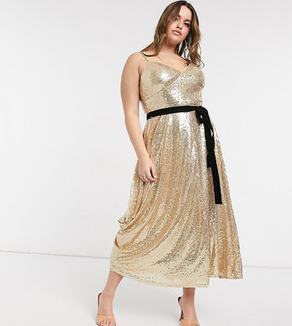 Forever U Curve sequin cami skater midi dress with contrast bow in gold