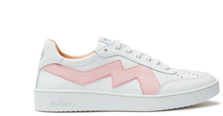 Mulberry Jumping Lace-Up Sneaker White and Powder Pink Smooth Calfskin