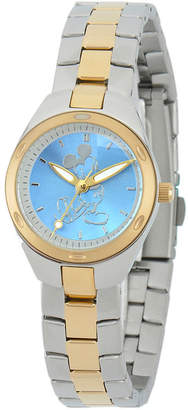 Character Mickey Mouse Womens Two Tone Stainless Steel Bracelet Watch-W001907