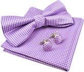 Alizeebridal Men's Vintage Checkered Bow Tie& Handkerchief& Cufflinks Set