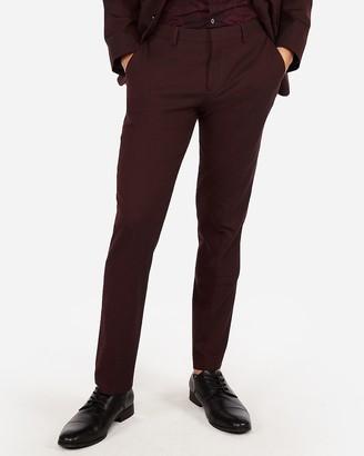 Express Slim Burgundy Oxford Stretch Wool-Blend Suit Pant
