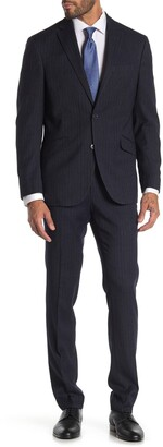 Kenneth Cole Reaction Pinstripe Navy Two Button Notch Lapel Trim Fit Suit