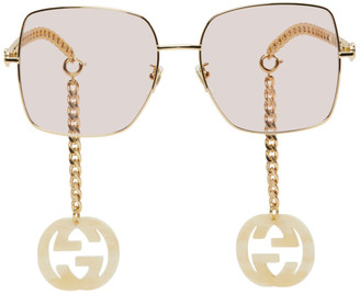 Gucci Gold and Pink GG0724S Sunglasses
