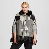 Cliche Women's Plus Size Faux Fur Trim Poncho Gray