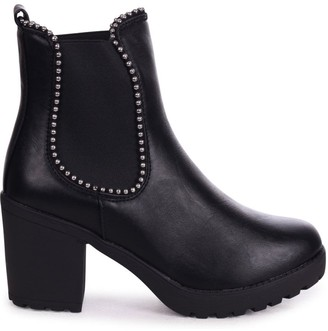 Linzi SUMMIT - Black Nappa Chunky Cleated Sole Chelsea Style Boot With Studded Detail