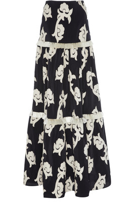 Alexis Surrey Embroidered Tiered Cotton-Blend Maxi Skirt