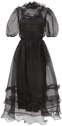 RED Valentino Ruffled Silk-organza Dress - Black