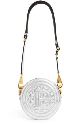 Balmain Leather Quilted Round Disco Bag