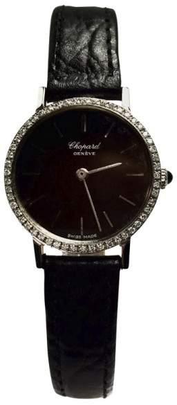 Chopard Stainless Steel w/ Diamond Bezel & Black Leather Band 24.20mm Womens Watch