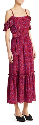 Derek Lam Printed Cold-Shoulder Stretch-Silk Midi Dress