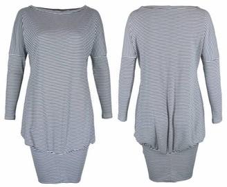 Format Poke Dress - blue, white striped / S