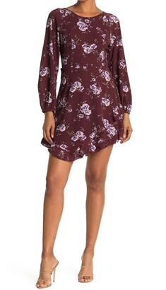Collective Concepts Ruffle Hem Floral Print Mini Dress
