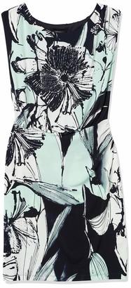 Connected Apparel Women's One Piece Abstract Matt Jersey Print Sleeveless Blouson Waist Dress