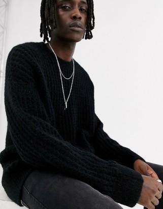 AllSaints crew neck sweater in black