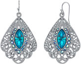 JCPenney 1928 Jewelry Blue Stone Filigree Fan Earrings
