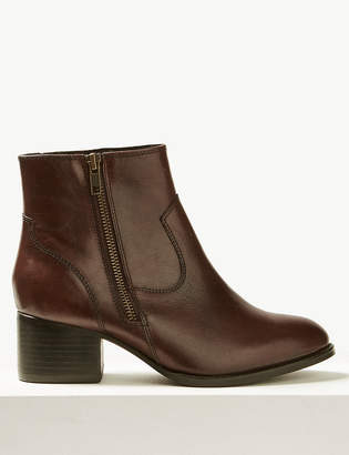 M&S CollectionMarks and Spencer Wide Fit Leather Block Heel Ankle Boots