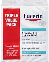 Eucerin Advanced Cleansing Soap Free Body Bar, 3 Count