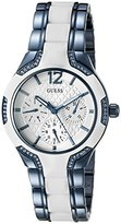 GUESS Women's U0556L9 Sporty Blue Watch with White Dial , Crystal-Accented Bezel and White Center Link Pilot Buckle