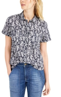 Tommy Hilfiger Floral-Print Button-Up Cotton Shirt