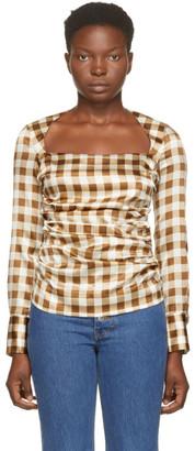 Ganni Brown Silk Check Draped Blouse