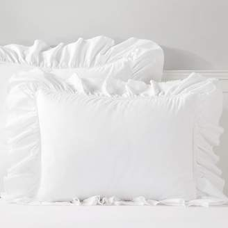 Pottery Barn Teen Washed Cotton Ruffle Organic Sham, Standard, White