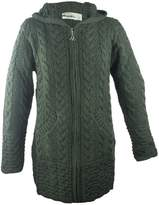 100% Irish Merino Wool Ladies Hooded Aran Zip Sweater Coat by West End Knitwear